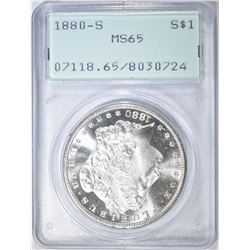 1880-S MORGAN DOLLAR PCGS MS-65 RATTLER HOLDER