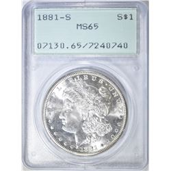 1881-S MORGAN DOLLAR PCGS MS-65 RATTLER HOLDER