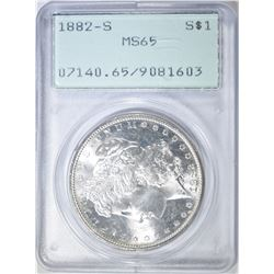 1882-S MORGAN DOLLAR PCGS MS-65 RATTLER HOLDER