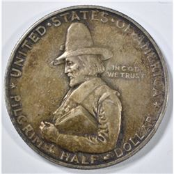 1920 PILGRIM COMMEM HALF DOLLAR  AU TONED