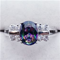 SILVER MYSTIC TOPAZ RING SIZE 6 3/4