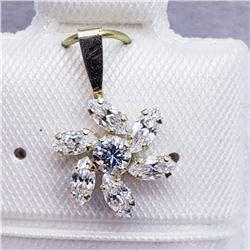 10K CZ FLOWER SHAPED PENDANT
