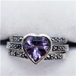 SILVER AMETHYST MARCASITE SET OF RINGS SIZE 7.5