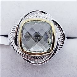 MEN'S GREEN AMETHYST RING SIZE 7