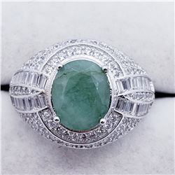SILVER MEN'S EMERALD CZ RING SIZE 8