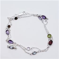 SILVER ASSORTED GEMSTONE NECKLACE