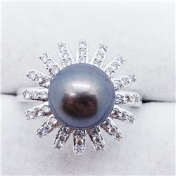 SILVER PEARL CZ RING SIZE 7.5