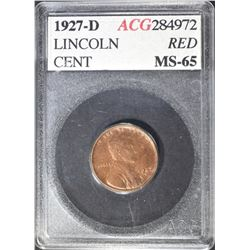 1927-D LINCOLN CENT RED  ACG  GEM BU