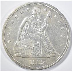 1869 SEATED LIBERTY DOLLAR  CH AU/UNC