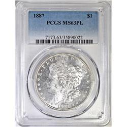 1887  MORGAN DOLLAR PCGS MS-63 PL