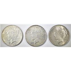 1922-P,D,S PEACE DOLLARS AU