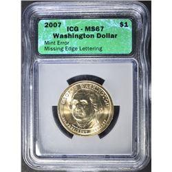 2007 WASHINGTON DOLLAR  ICG MS-67