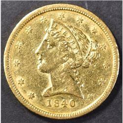 1840-O $5.00 GOLD AU/BU