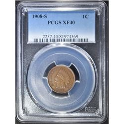1908-S INDIAN CENT PCGS XF-40