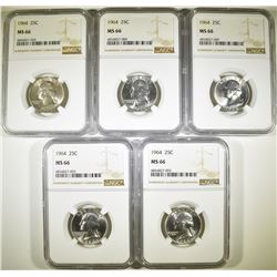 (5) 1964 WASHINGTON QUARTERS  NGC MS-66  TOUGH!