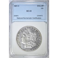 1881-O MORGAN DOLLAR NNC CH/GEM BU