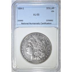 1884-S MORGAN DOLLAR NNC CH AU