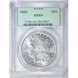 1886 MORGAN DOLLAR PCGS MS-64 OGH