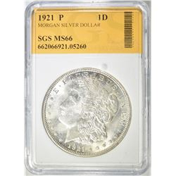 1921 MORGAN DOLLAR SGS SUPERB GEM BU