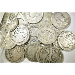 20-CIRC MIXED 90% SILVER HALF DOLLARS
