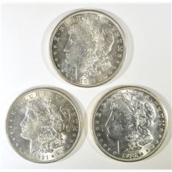 1921-P-D-S CH BU MORGAN DOLLAR SET