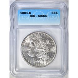 1881-S MORGAN DOLLAR  ICG MS-65