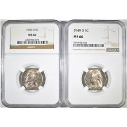 1949-D & 1950-D JEFFERSON NICKELS NGC MS-66