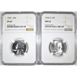 1946-S MS-65 & 1957 PF 67 NGC WASHINGTON QUARTERS