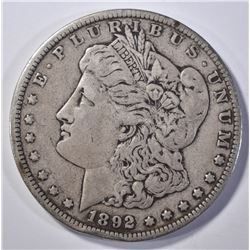 1892-CC MORGAN DOLLAR VF RIM BUMP