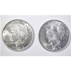 2 1922-D PEACE DOLLARS CH BU