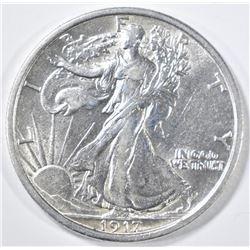 1917-D REVERSE WALKING LIBERTY HALF DOLLAR  AU/BU