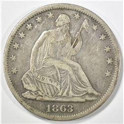 1863-S SEATED LIBERTY HALF DOLLAR XF
