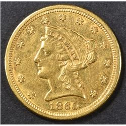 1860-S $2.5 GOLD LIBERTY AU SCARCE DATE