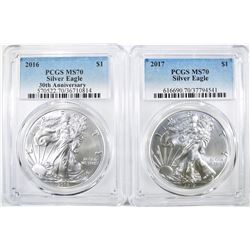 2016 & 17 AMERICAN SILVER EAGLES PCGS MS-70