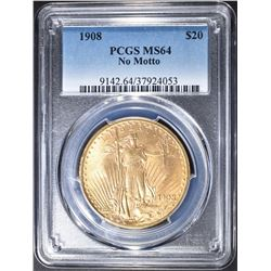 1908 PCGS MS64 NO MOTTO $20
