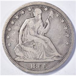 1866-S SEATED HALF DOLLAR,, VF+