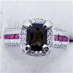 SMOKEY QUARTZ RUBY CZ RING SIZE 7.5