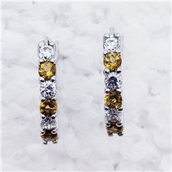 SILVER NATURAL CITRINE CZ EARRINGS