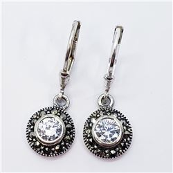 SILVER CZ AND MARCASITE LEVERBACK EARRINGS