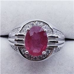 SILVER MEN'S RUBY CZ RING SIZE 10.5