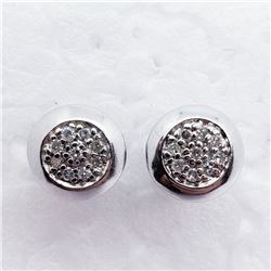 SILVER 16 DIAMOND STUD EARRINGS