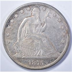1875 SEATED HALF DOLLAR, AU/BU