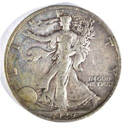 1929-S WALKING LIBERTY HALF DOLLAR, XF