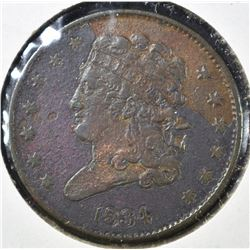 1834 HALF CENT, VF