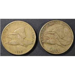 1857 XF & 58 VF FLYING EAGLE CENTS