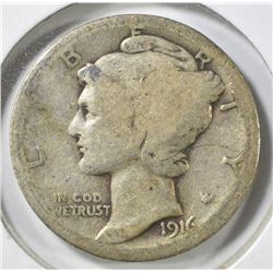 1916-D MERCURY DIME, GOOD KEY DATE