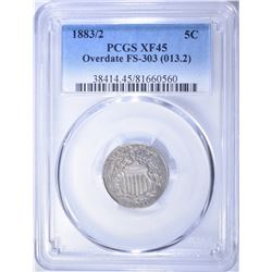 1883/2 SHIELD NICKEL, PCGS XF-45 KEY DATE