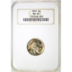 1937 BUFFALO NICKEL, NGC MS-65
