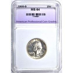 1935-S WASHINGTON QUARTER, APCG CH/GEM BU