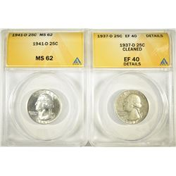 2-ANACS GRADED WASHINGTON QUARTERS: